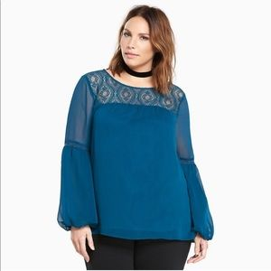 Torrid Teal Chiffon Lace Inset Blouse Top 1X